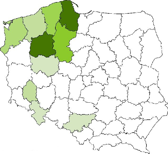 map of distribution of last name Rogenbuk in Poland in about 1990